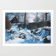 Winter at Weir Art Print