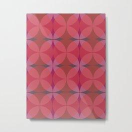 Retro Mid Century Red Cranberry Geometric Circular Pattern Metal Print