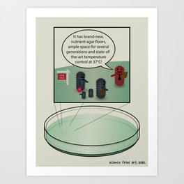 Bacteria family looking for home Art Print