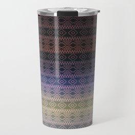 Antique Faded Ombre Shaded Rainbow Aztec Geometric Tribal Pattern Travel Mug