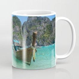 Paradise Island. Long-tail boat floating in transparent water of Maya Bay beach, Thailand. Coffee Mug