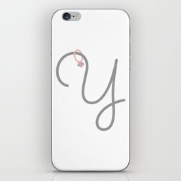 Y Initial with Stitch Marker iPhone Skin