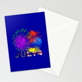 America 4th of July Fireworks Stationery Cards