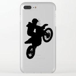 Dirt Bike Silhouette Clear iPhone Case