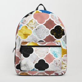 Maroccan Tiles in Various Metallic and Stone Textures Backpack