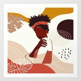 Black Woman Illustration Art, Portrait Print, Black Girl Wall Art, African American Woman Art Art Print