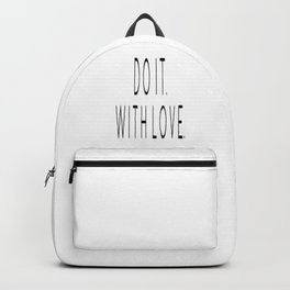 Do It With Love, Love Quote, Motivational Poster, Bedroom Decor, Gift For Her Backpack