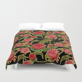 Eucalyptus Leaves and Protea Flowers Duvet Cover