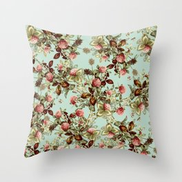 Vintage shabby green pink coral floral pattern Throw Pillow