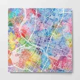 austin map watercolor Metal Print