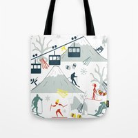 ski Tote Bags featuring SKI LIFTS by BLUE VELVET DESIGNS