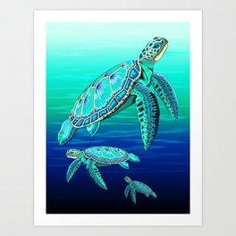 Sea Turtle Turquoise Oceanlife Art Print