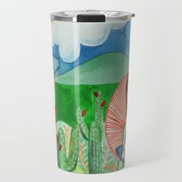 Girl thinking in the dessert about life and afterlife Travel Mug