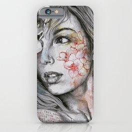 Mascara (expressive female portrait with freesias) iPhone Case