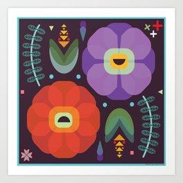 Flowerfully Folk Art Print