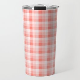 Farmhouse Simple Plaid Pattern 2 With Pantone Living Coral Color of the Year 2019 Travel Mug