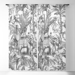 Africa Meets India Black And White Sheer Curtain