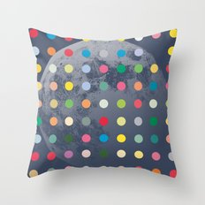 Blue Moon With Multi-Coloured Dots Throw Pillow