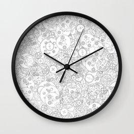 Clockwork B&W / Cogs and clockwork parts lineart pattern Wall Clock