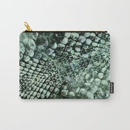 Faux pearly crocodile texture on green marble Carry-All Pouch
