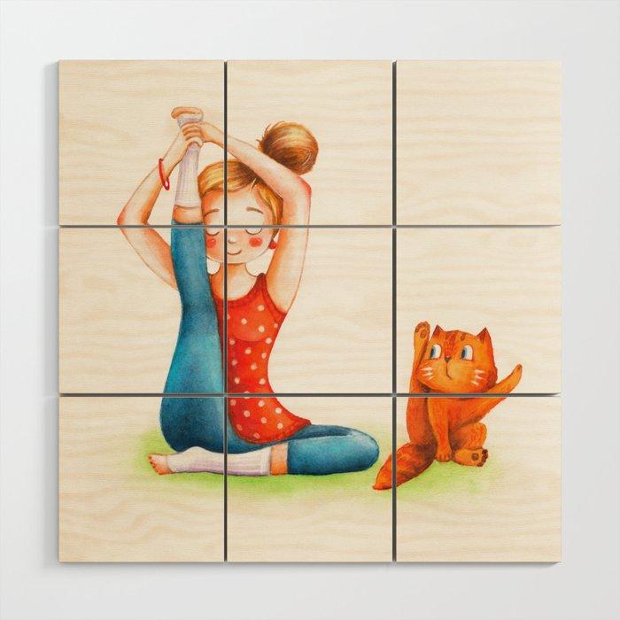 Yoga cat Wood Wall Art