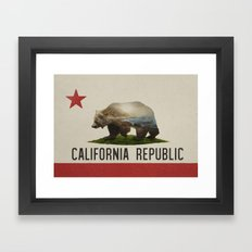 California Grizzly Bear Flag Framed Art Print