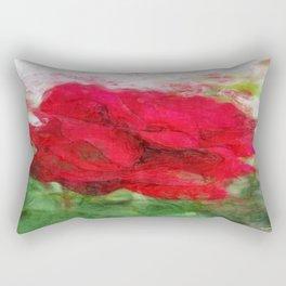 Red Rose Edges Sketchy Rectangular Pillow