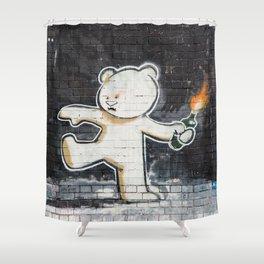 Banksy's Big Bad Bear Shower Curtain