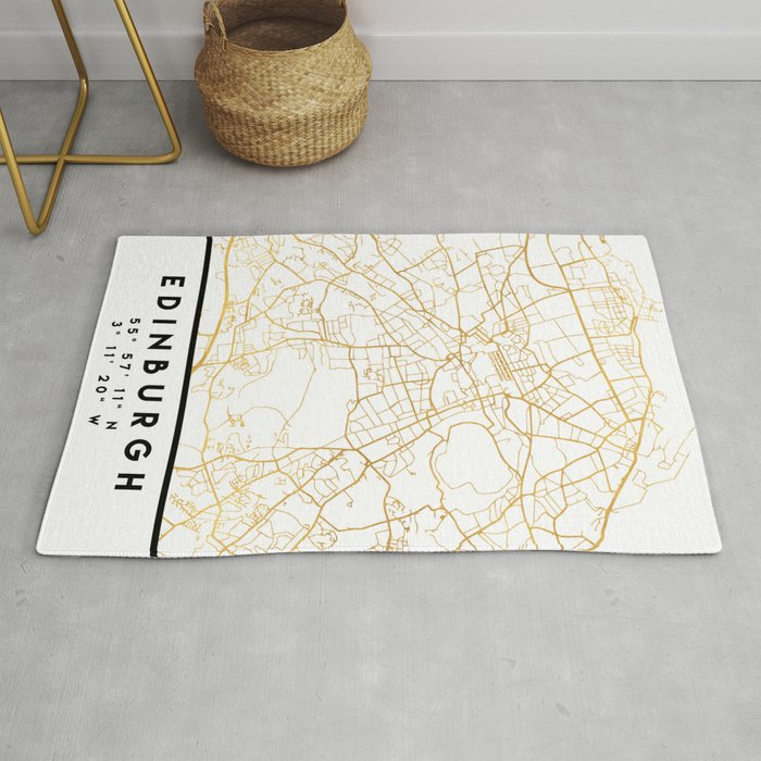 EDINBURGH SCOTLAND CITY STREET MAP ART Rug