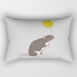 Rat with a Happy Face Balloon Rectangular Pillow