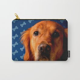 Golden Retriever blue bone background Carry-All Pouch