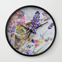vintage motiv with roses and lavender Wall Clock