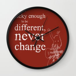 Taylor original handmade drawing and quote dark red background Wall Clock
