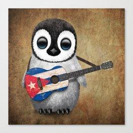 Baby Penguin Playing Cuban Flag Guitar Canvas Print