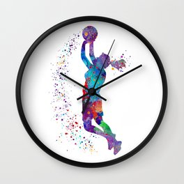 Girl Basketball Watercolor Art Print Sports Poster Nursery Home Decor Kids Room Sports Painting Gift Wall Clock