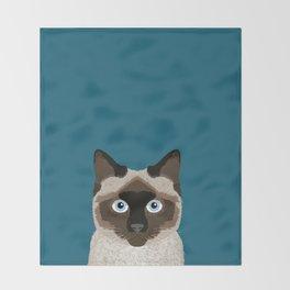 Ezra - Siamese Cat, Cute Kitten Retro Cat Art cell phone case, siamese, cute cat Throw Blanket