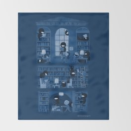 Silence in the Library Throw Blanket