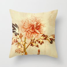 peach and golden floral Throw Pillow