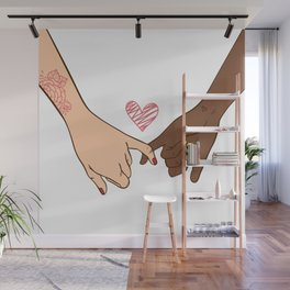 Hand drawn pinky swear pinky promise concept, Set of hand pose heart gesture, Bffs gift ideas Wall Mural