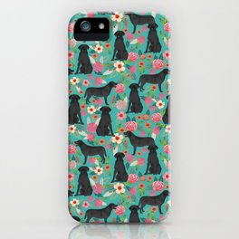 Black Labrador Retriever dog floral gifts must haves black lab lover iPhone Case