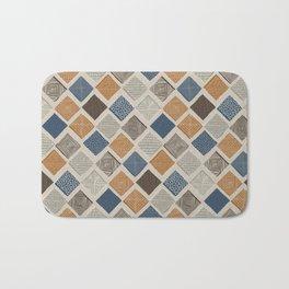 Tuscan Tiles Dark Orange and Gray Bath Mat