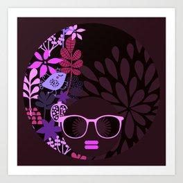 Afro Divva Magenta Lavender Eggplant Art Print