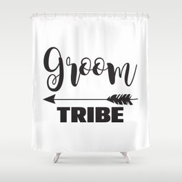 Groom Tribe Arrow Bride Tribe Bridal Party Bridesmaid Groomsmen Bachelor Bachelorette Shower Curtain