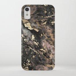 Gold Vein Black Marble Design iPhone Case