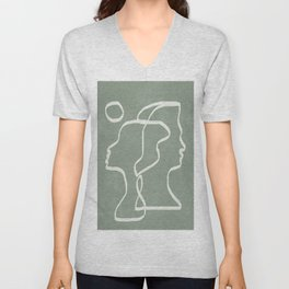 Abstract Faces Unisex V-Neck