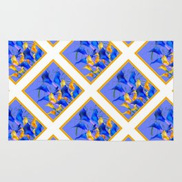 PATTERNED MODERN ABSTRACT BLUE & GOLD CALLA LILIES Rug