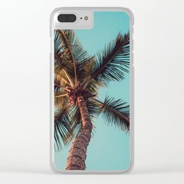Teal and Orange Palm Tree Clear iPhone Case