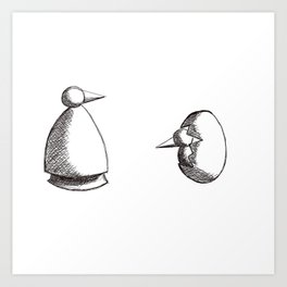 Methaphisica Penguin Birth & Rebirth Art Print