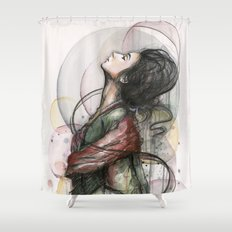 Beauty Illustration Beautiful Woman Feminine Portrait Shower Curtain
