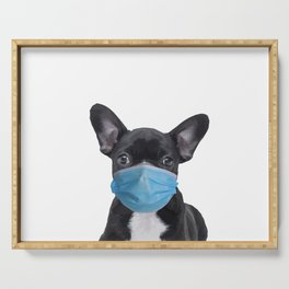 French Bulldog with Mouth Nose Mask - Frenchie Serving Tray